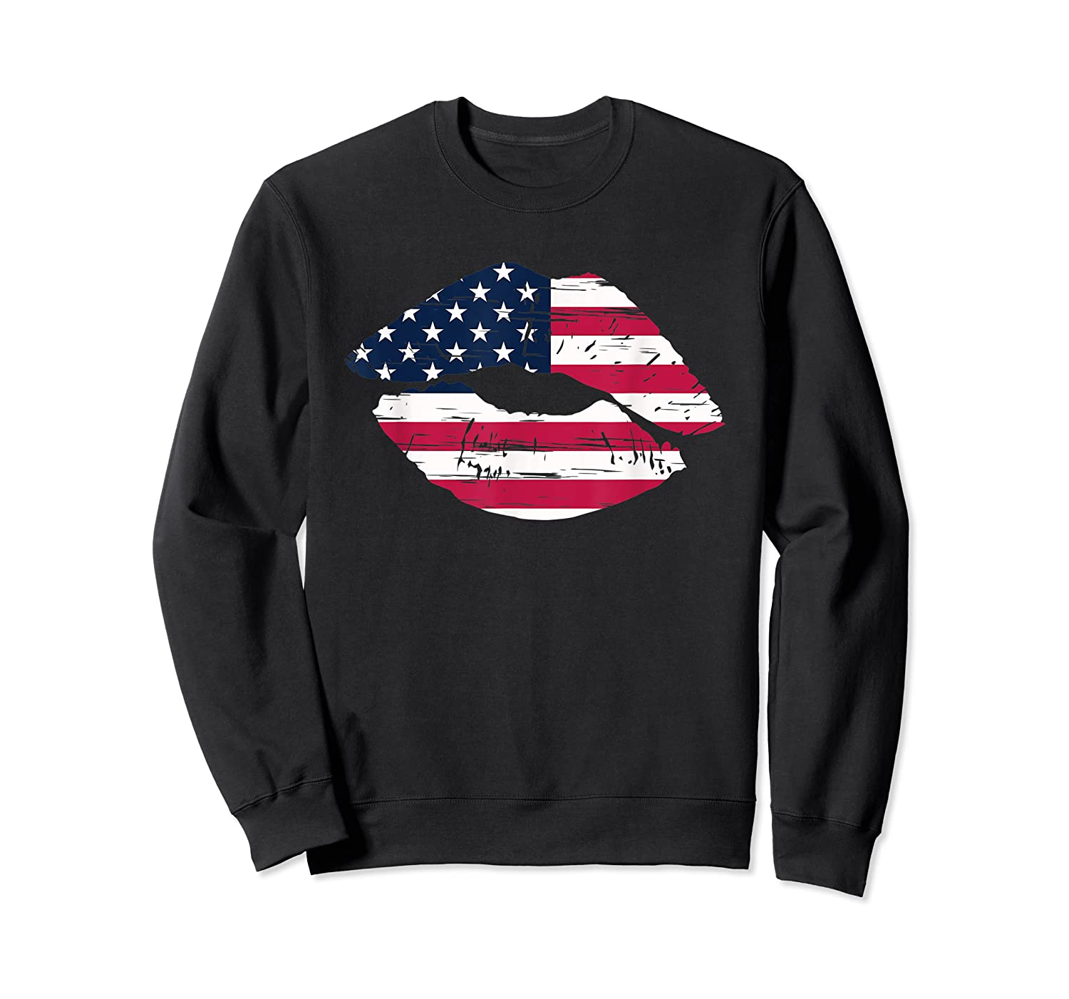 Cool Lips With American Flag Girl 4th Of July Gift Shirts Crewneck Sweater