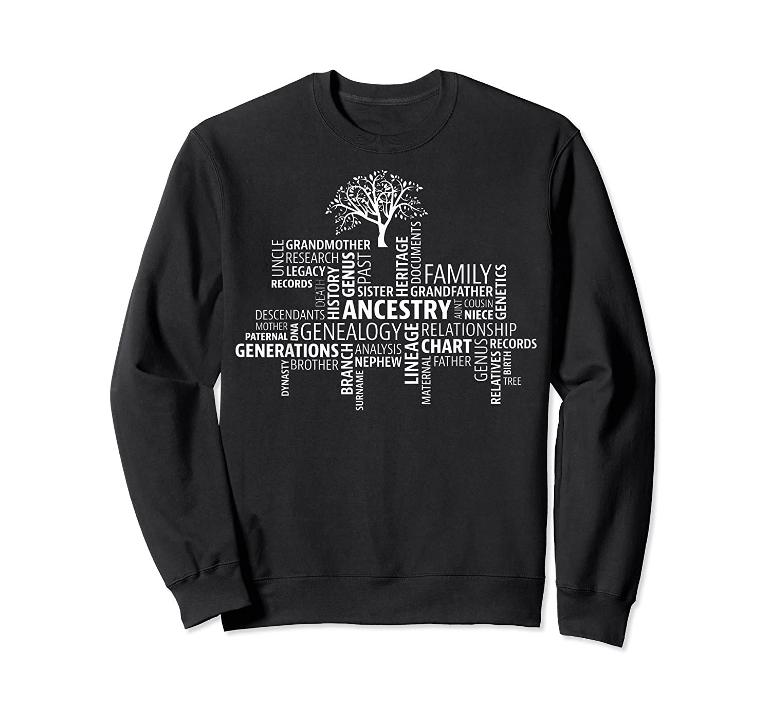 Genealogy Ancestry Word Cloud Research Your Family Shirts Crewneck Sweater