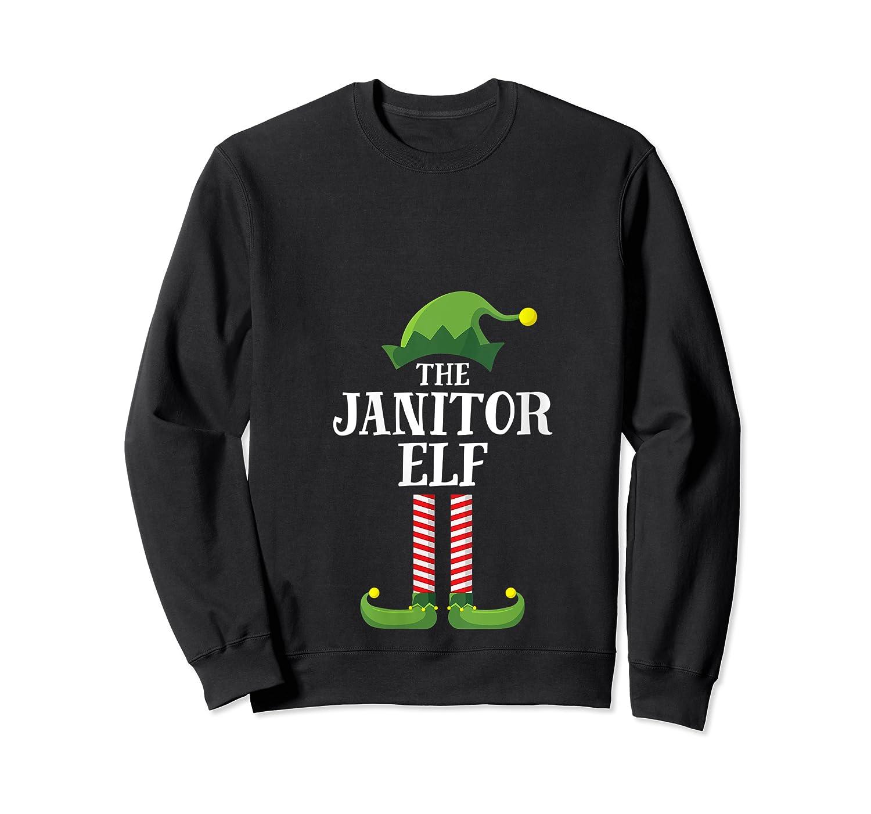 Janitor Elf Matching Family Group Christmas Party Pajama T-shirt Crewneck Sweater