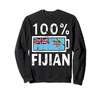 Fiji Flag T Shirt 100 Fijian Battery Power Tee Sweatshirt Black