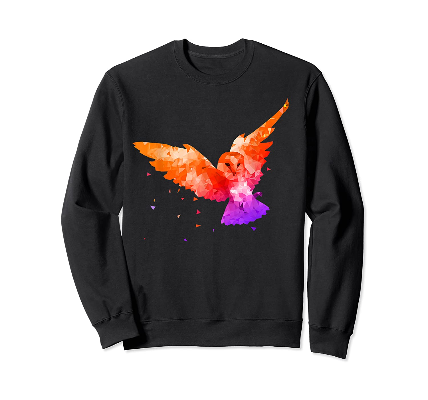 Flying Owl In Low Poly Style T Shirt Design Crewneck Sweater