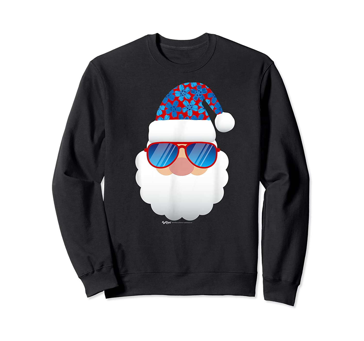Cool Santa Emoticon In Sunglasses Christmas In July T Shirt Crewneck Sweater