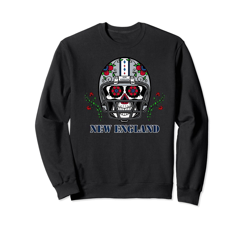 New England Football Helmet Sugar Skull Day Of The Dead Shirts Crewneck Sweater
