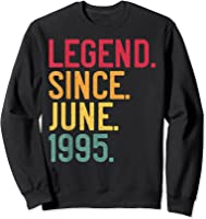 Legend Since June 1995 26th Birthday 26 Years Old Vintage T-shirt Sweatshirt Black