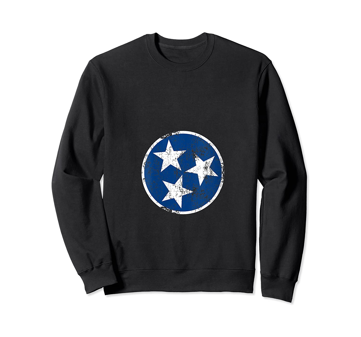 Tn 3 Star Distressed Blue And Tennessee State Flag Shirts Crewneck Sweater
