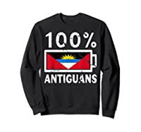 Antigua Barbuda Flag Shirt 100 Antiguans Battery Power Sweatshirt Black