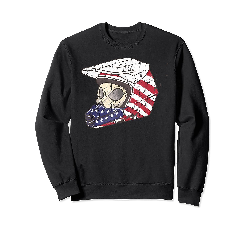 Usa Flag American Skull Helmet Patriotic Motorcyclist T Shirt Crewneck Sweater
