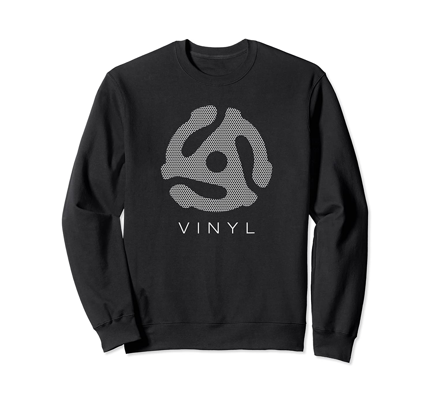 45 Rpm Record Adapter T Shirt - With Speaker Mesh Effect Crewneck Sweater