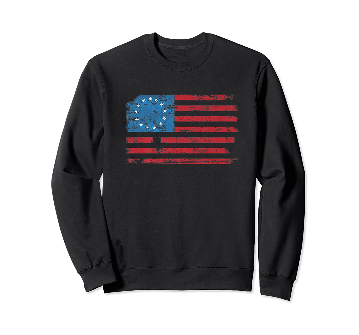 Distressed Betsy Ross Us American Flag Shirt For 4th Of July Premium T-shirt Crewneck Sweater