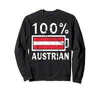 Austria Flag T Shirt 100 Austrian Battery Power Tee Sweatshirt Black