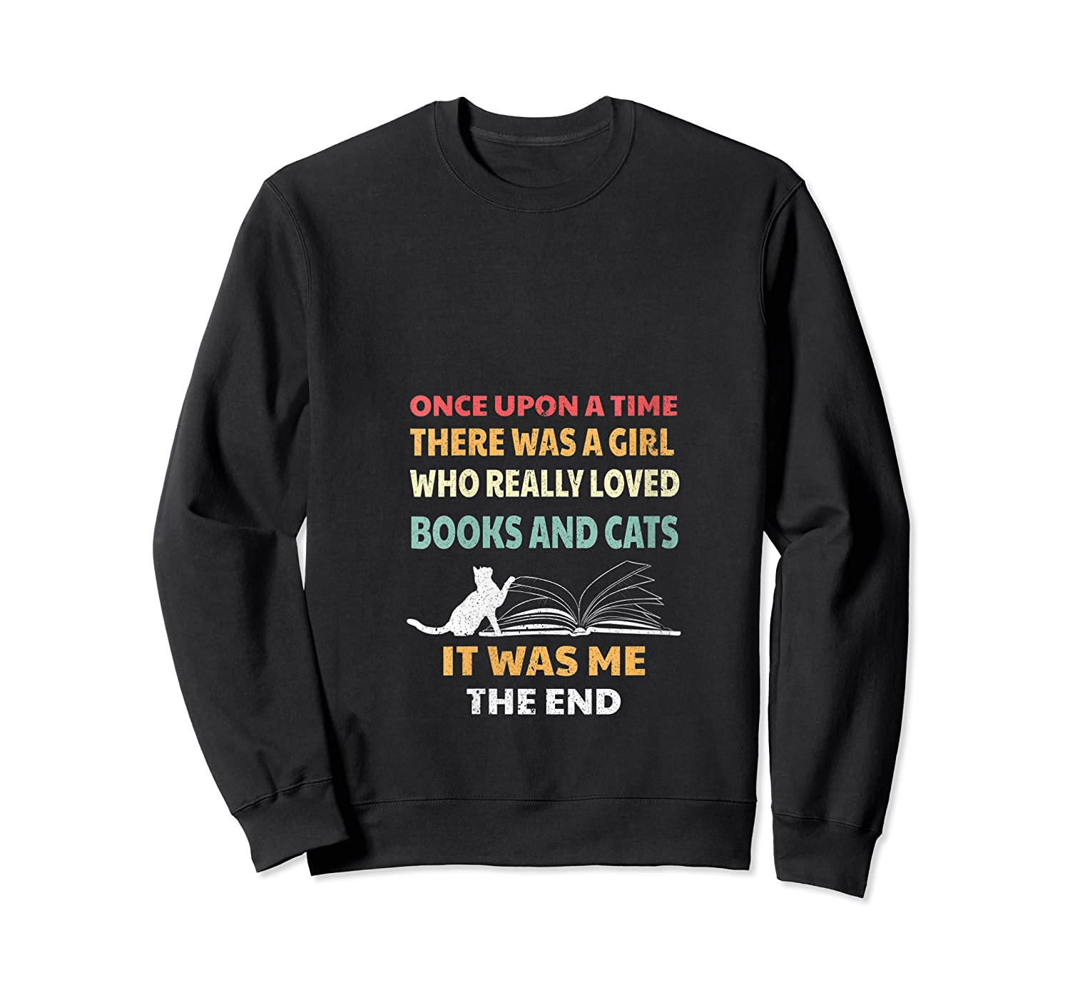 Bookworm Girl Cats Lover Reading And Pets Gift Out T Shirt Crewneck Sweater