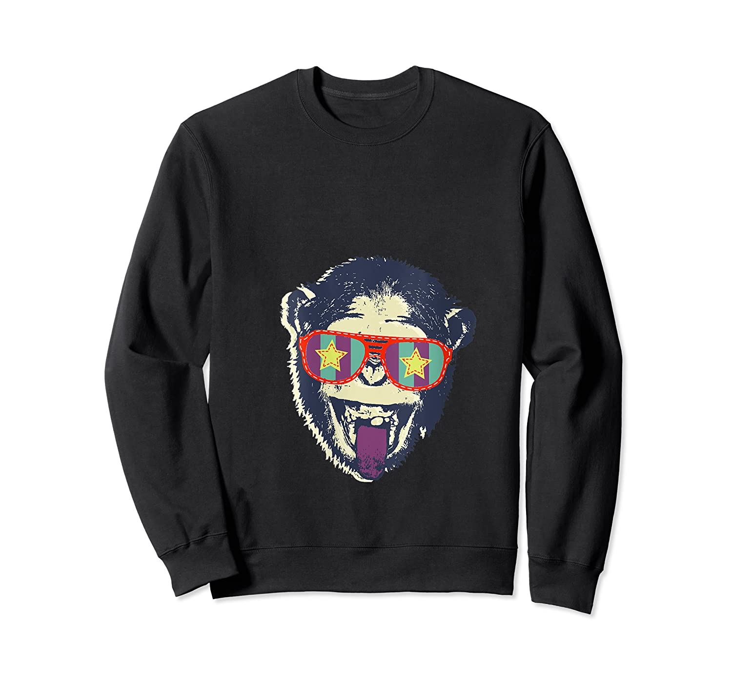 Crazy Monkey Chimp Funny And Vintage Music Love Shirts Crewneck Sweater