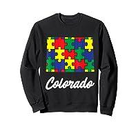 Autism Awareness Day Colorado Puzzle Pieces Gift Shirts Sweatshirt Black