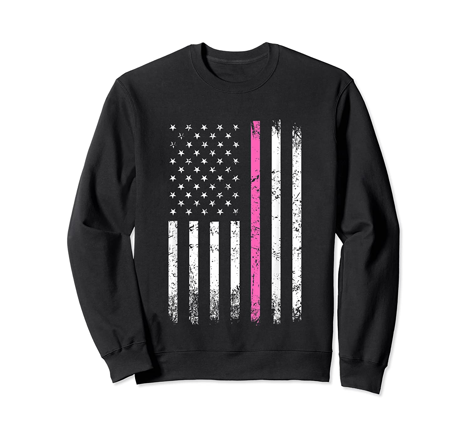 Stars Stripes Thin Pink Line Breast Cancer Awareness Month T Shirt Crewneck Sweater