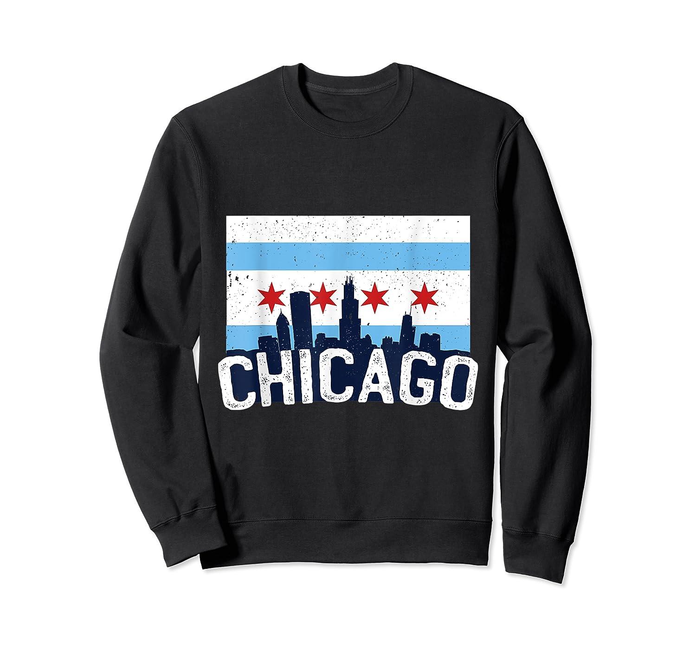Chicago Flag Skyline Shirt Chi Town Pride City Flag Gift T Shirt Crewneck Sweater