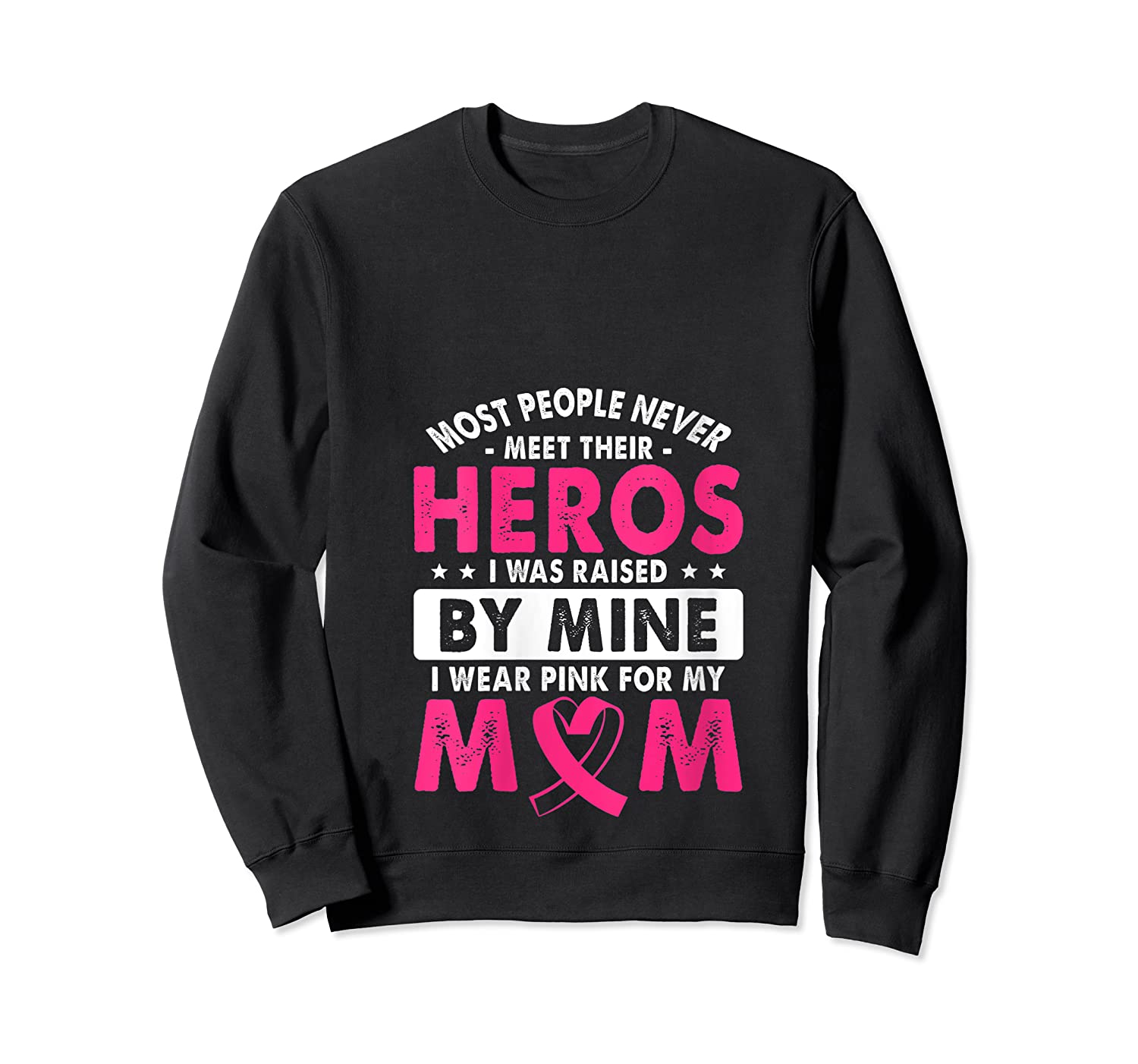 I Was Raised By Mine I Wear Pink For My Mom Breast Cancer T Shirt Crewneck Sweater