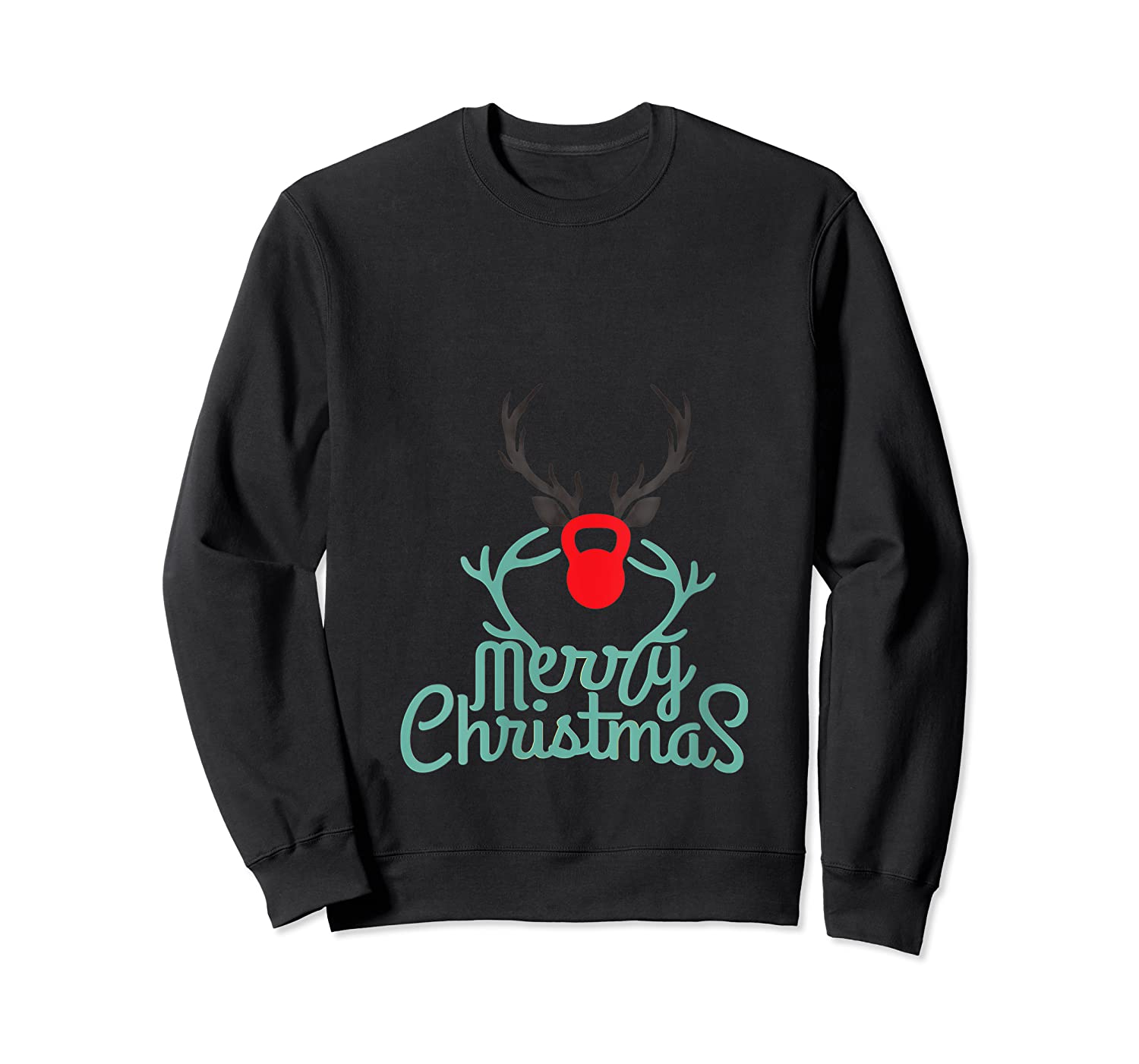 Merry Xmas Antlers Kettlebell Weightlifting Ness Workout Shirts Crewneck Sweater