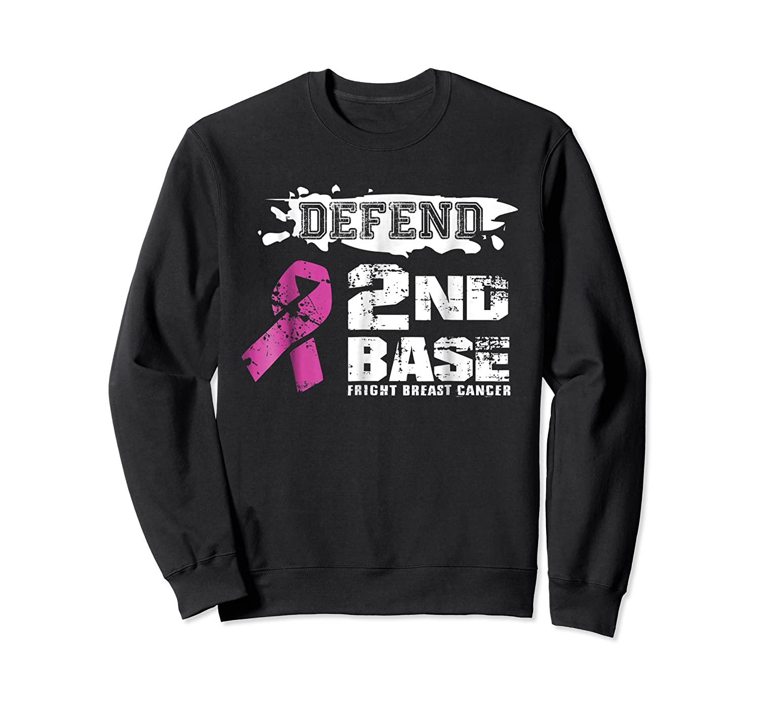 Defend 2nd Base Breast Cancer Awareness Tshirt Gifts Crewneck Sweater