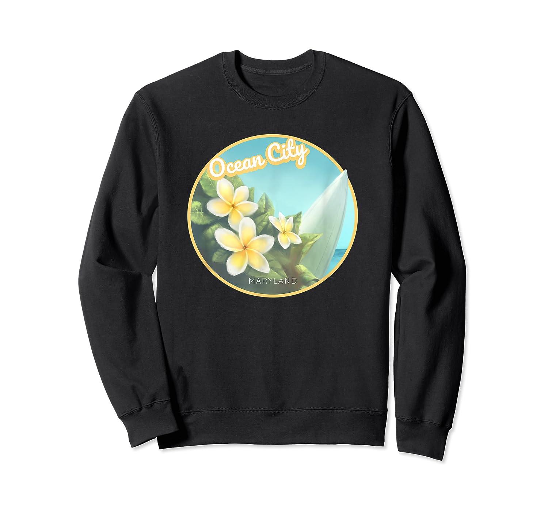 Ocean City Maryland Surfing Flower T Shirt Crewneck Sweater
