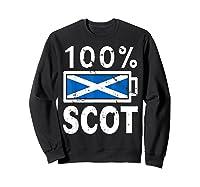 Scotland Flag T Shirt 100 Scot Battery Power Tee Sweatshirt Black