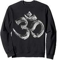 Om Yoga Chrom Zeichen   Buddha Vishnu Liebe Schwarz Weiß T-shirt Sweatshirt Black