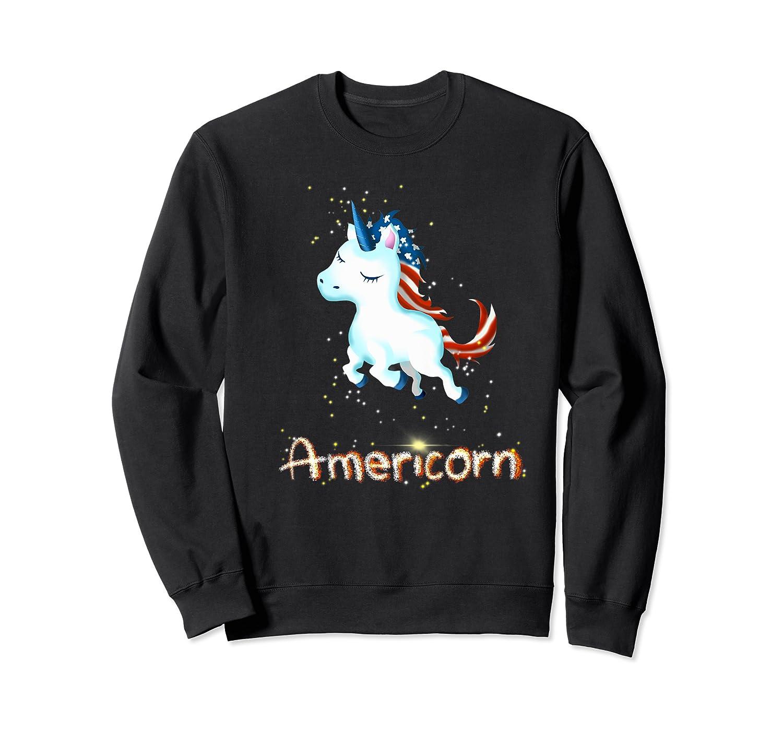 Americorn 4th Of July Patriot Usa Unicorn Lovers Funny Gift Premium T-shirt Crewneck Sweater