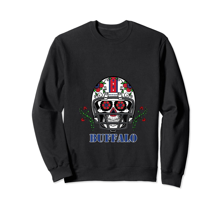 Buffalo Football Helmet Sugar Skull Day Of The Dead T Shirt Crewneck Sweater