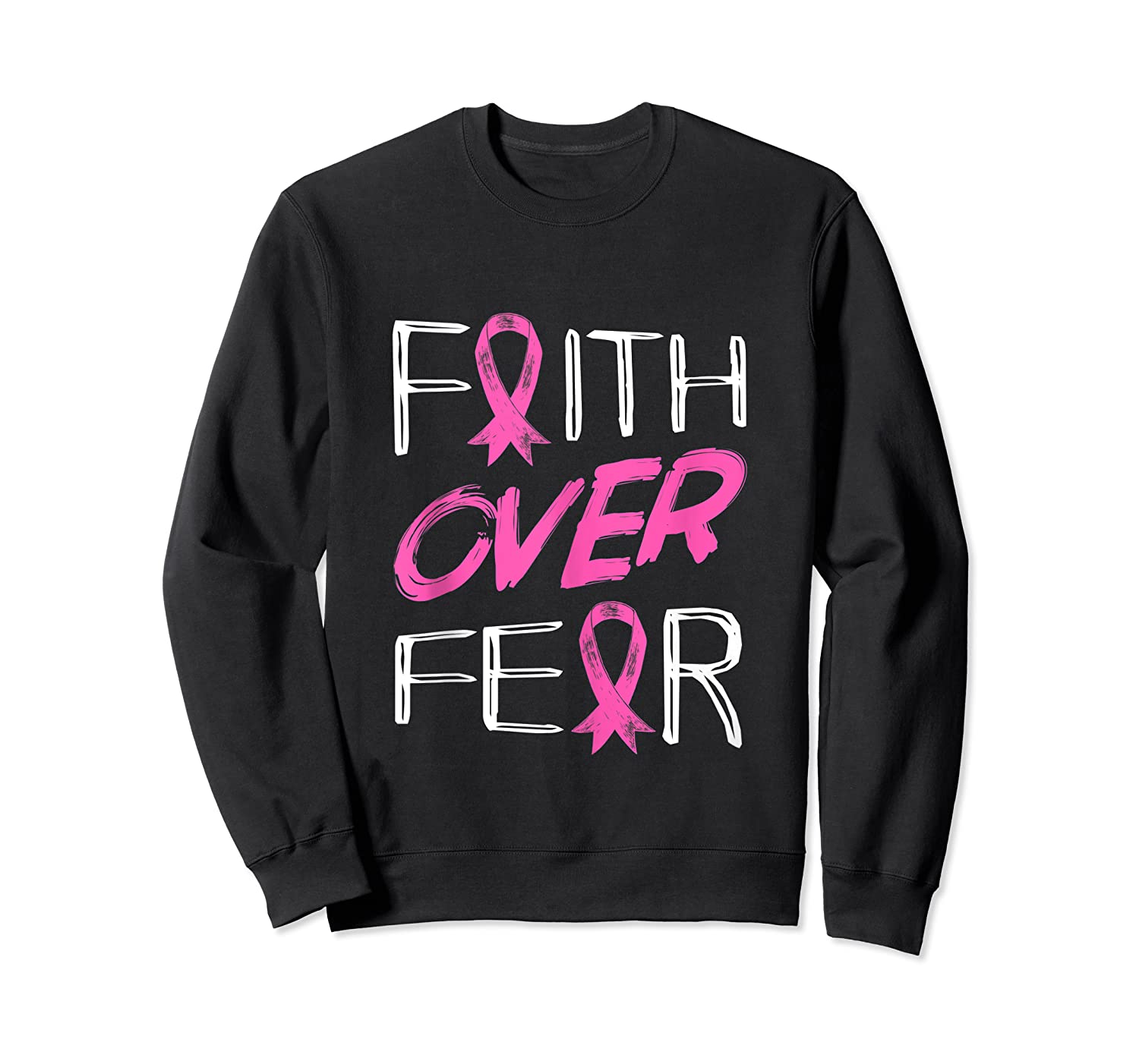 Faith Over R Breast Cancer Awareness Month Pink Ribbon Tank Top Shirts Crewneck Sweater