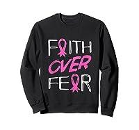 Faith Over R Breast Cancer Awareness Month Pink Ribbon Tank Top Shirts Sweatshirt Black