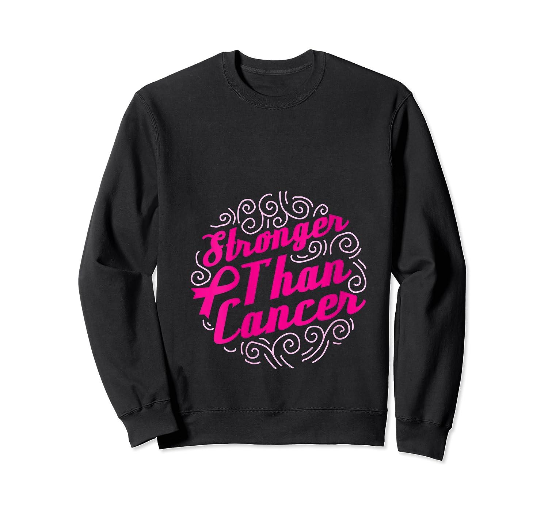 Stronger Than Cancer Pink Ribbon Breast Cancer Awareness T Shirt Crewneck Sweater
