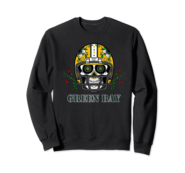 Green Bay Football Helmet Sugar Skull Day Of The Dead Premium T-shirt Crewneck Sweater