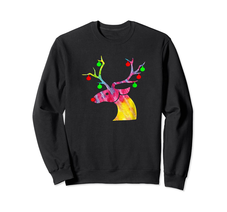 Tie Dye Reindeer Hippie Tie Dye Christmas Shirts Crewneck Sweater