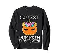 Cutest Pumpkin In The Patch Unicorn Halloween Girls Gift Shirts Sweatshirt Black