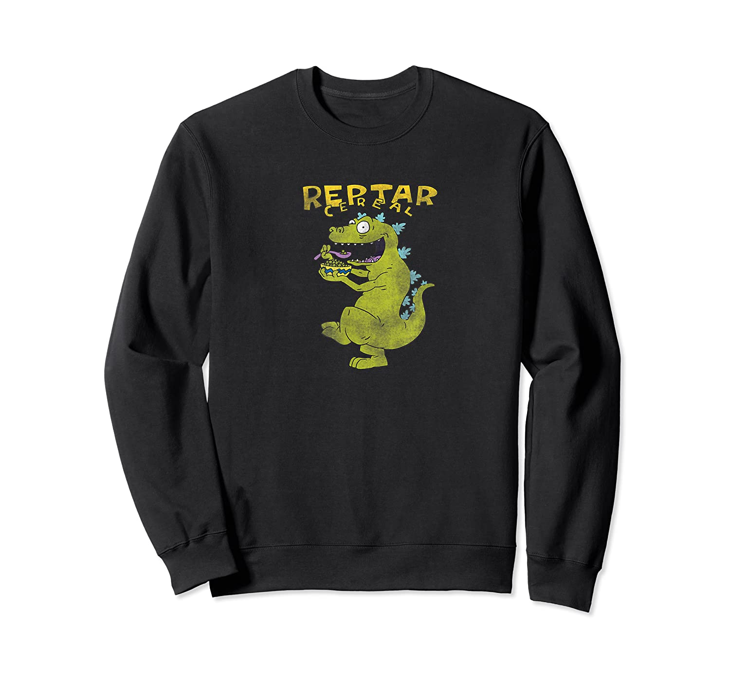 Reptar Eating Cereal With Text Reptar Cereal Shirts Crewneck Sweater