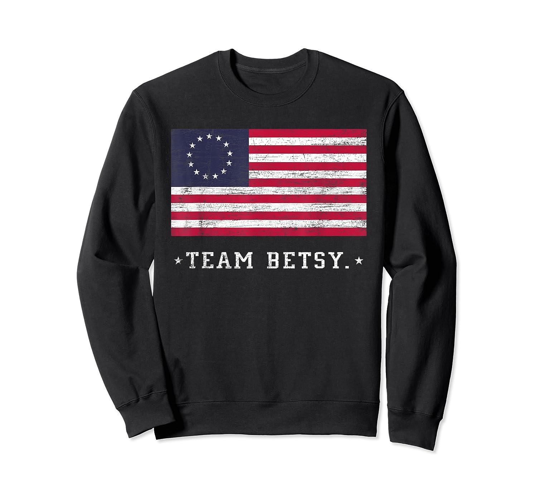 Team B Ross Flag Proud American Flag Distressed T Shirts Crewneck Sweater