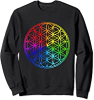 Blume Des Lebens Heilige Geometrie Spirituell Zen Yoga T-shirt Sweatshirt Black