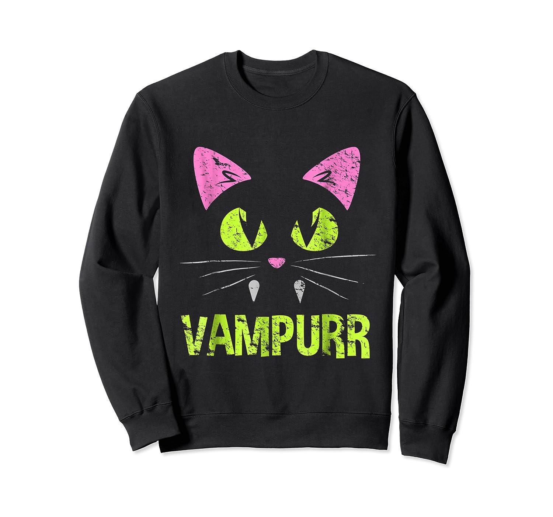 Halloween Scary Cat Vampire Vampurr Girl Shirts Crewneck Sweater