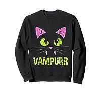 Halloween Scary Cat Vampire Vampurr Girl Shirts Sweatshirt Black