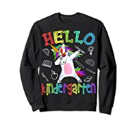 Hello Kindergarten Unicorn Tshirt Funny Back To School Gift Sweatshirt Black