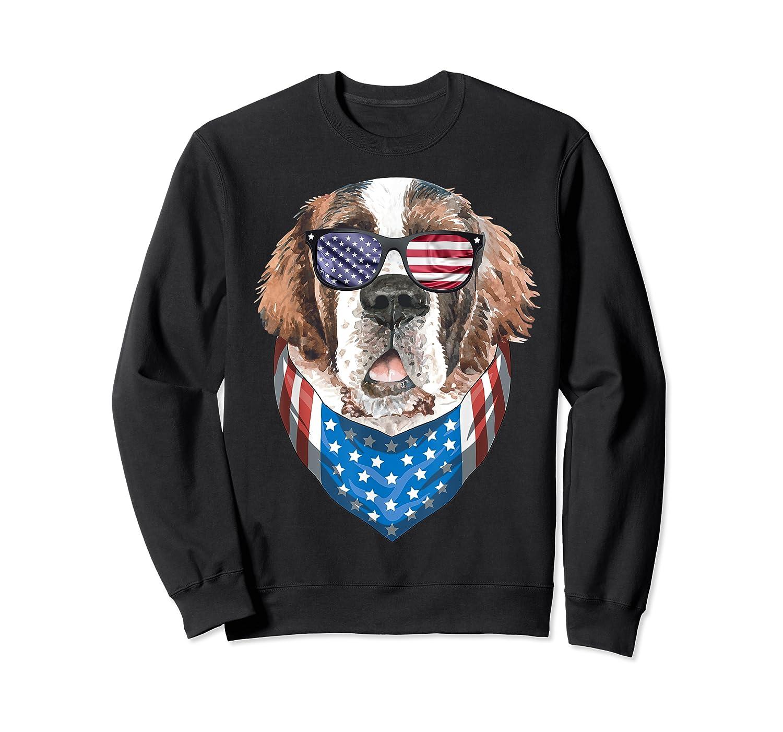 Fourth Of July Bernard American Flag July 4th St Bernard Dog T Shirt Crewneck Sweater