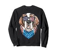 Fourth Of July Bernard American Flag July 4th St Bernard Dog T Shirt Sweatshirt Black