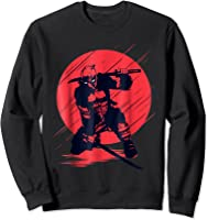 Marvel Deadpool Red Moon Samurai Graphic T-shirt Sweatshirt Black