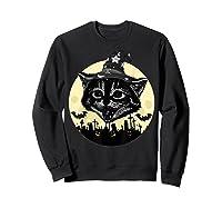 Vintage Scary Halloween Black Cat Witch Hat Moon Pumpkin Bat T Shirt Sweatshirt Black