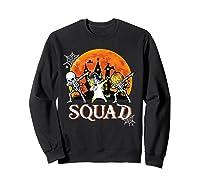 Skeleton Unicorn Pumpkin Dabbing Squad Team Halloween Tshirt Sweatshirt Black