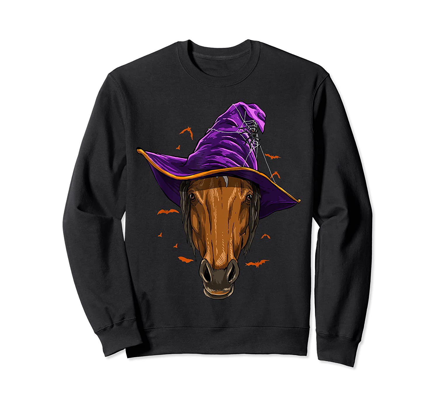 Horse Witch Hat Funny Halloween Gifts Horse Lover Whisperer T Shirt Crewneck Sweater
