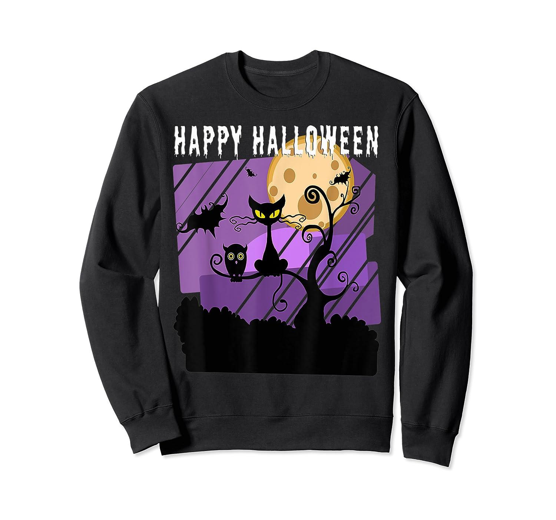 Spoopy Funny Halloween Black Cat Witch Hallow S Eve Joke T Shirt Crewneck Sweater