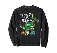 Tree Rex Dinosaur Christmas Gift T Rex Pajamas Xmas Premium T-shirt Sweatshirt Black