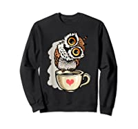 Cute Owl Cartoon Bird Hand Draw T Shirt Design Sweatshirt Black