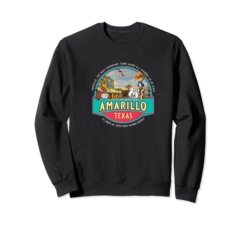 Amarillo Tx Texas Historic Route 66 Longhorn Cowboy Souvenir Premium T-shirt Crewneck Sweater