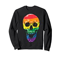 Lgbt Gay Pride T-shirt Skull Rainbow Sweatshirt Black